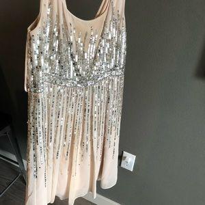 Blush metallic cocktail dress